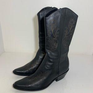 Matisse Black Leather Cowboy Boots Size 10